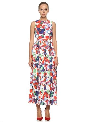0009 Çiçek Desenli Pliseli Kolsuz Elbise